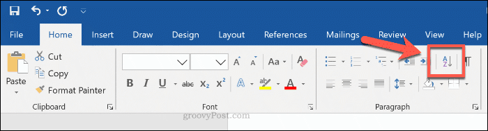 Sort button in Word