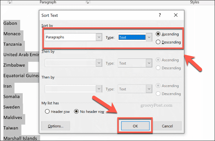 The Sort options box in Word