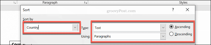 The Sort by options for a table in Word