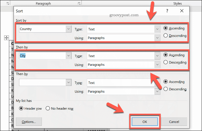 Options to sort a table in Word