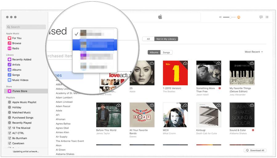 iTunes select family member