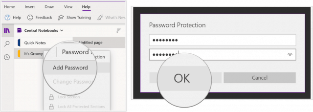 One Note password protect
