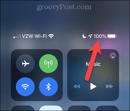 Battery percentage showing in Control Center on iPhone 11