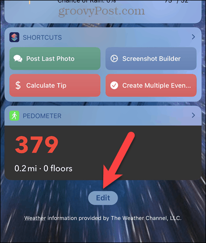 Tap Edit on the iPhone Widgets screen