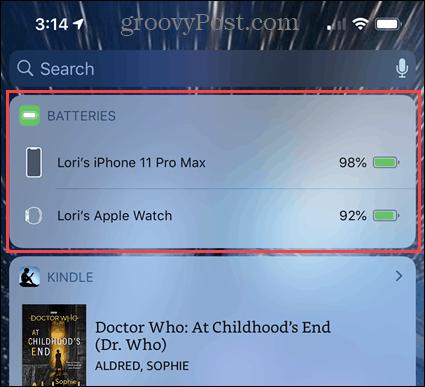 Batteries widget on the iPhone Widgets screen