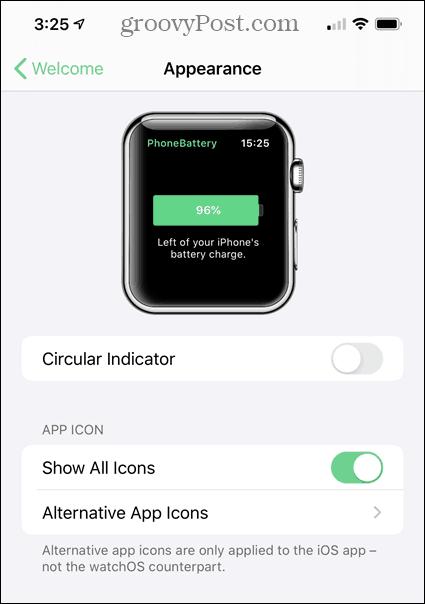 Open PhoneBattery app on iPhone