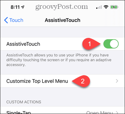Turn on AssistiveTouch in iPhone Settings