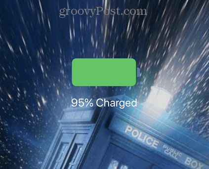 Battery percentage when iPhone charging