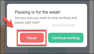 Pausing a work timer in BlockSite on Chrome