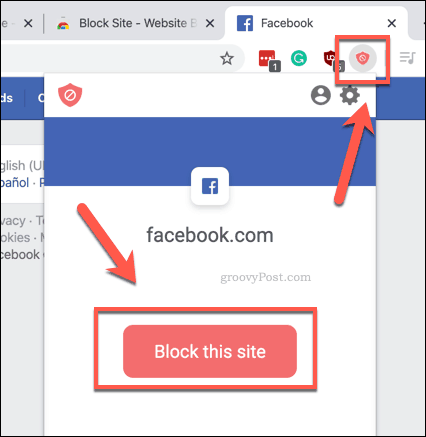 Quickly blocking a site using BlockSite in Chrome