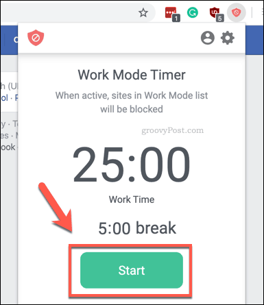 Starting the BlockSite Work Mode timer