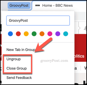 Close or ungroup tab groups in Chrome