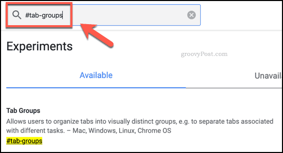 Tab groups flag in Google Chrome
