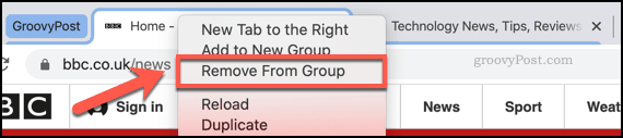 Removing a tab from a Chrome tab group