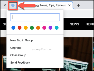 Renaming a tab group in Chrome