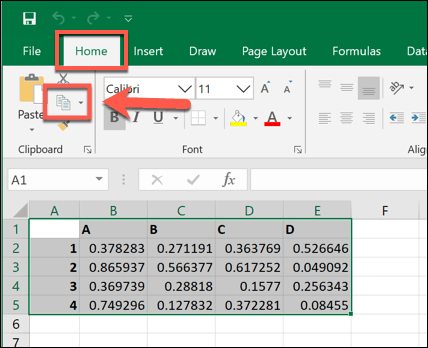 Copying selected data in Microsoft Excel