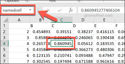 A named cell reference in Excel