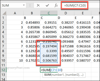 An Excel SUM formula using a cell range