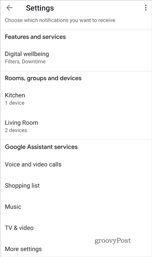 Google Home Settings