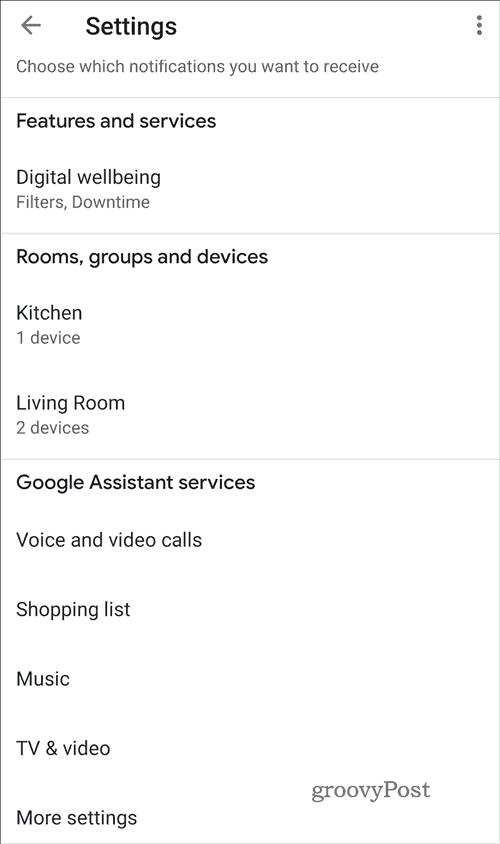 Google Home Settings