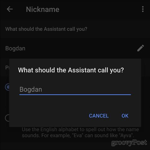 Google Home nickname