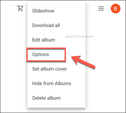 Google Photos album options