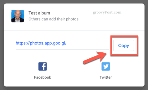 Sharing on Google Photos by link