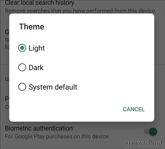 Google Play Store Dark Theme light dark