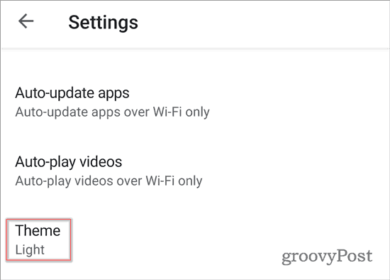 Google Play Store Dark Theme settings Theme