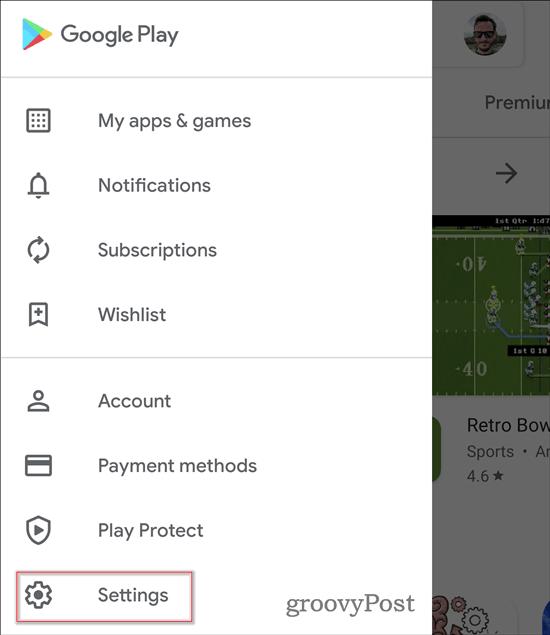 Google Play Store Dark Theme settings