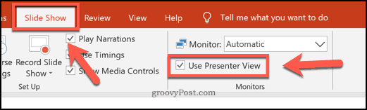 Enable Presenter View mode on PowerPoint