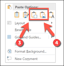 Additional paste options in PowerPoint