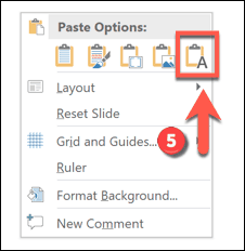 Pasting as text only in PowerPoint