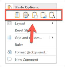 Paste options in PowerPoint