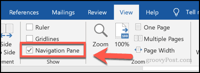 Enabling the navigation pane in Word