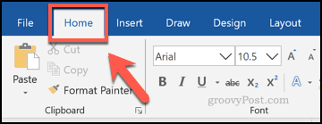 The Home tab in Word