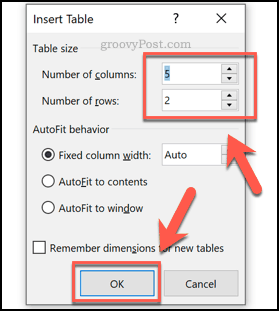 Inserting a table in Word