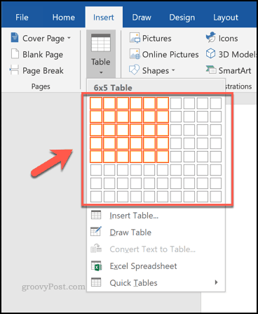 Inserting a table using a grid in Word