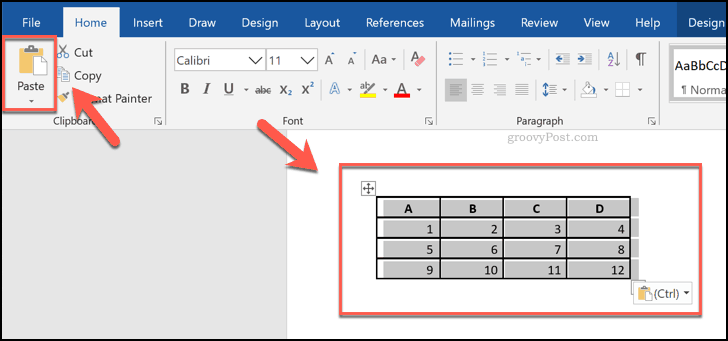 Pasted cells from an Excel spreadsheet, shown as a table in Word