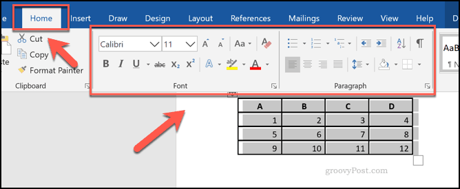 Formatting options for a table in Word