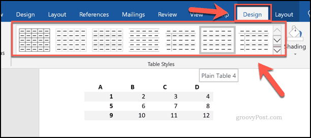 Choosing table styles in Word