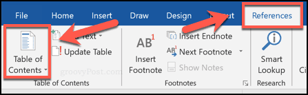 Inserting a table of contents in Word