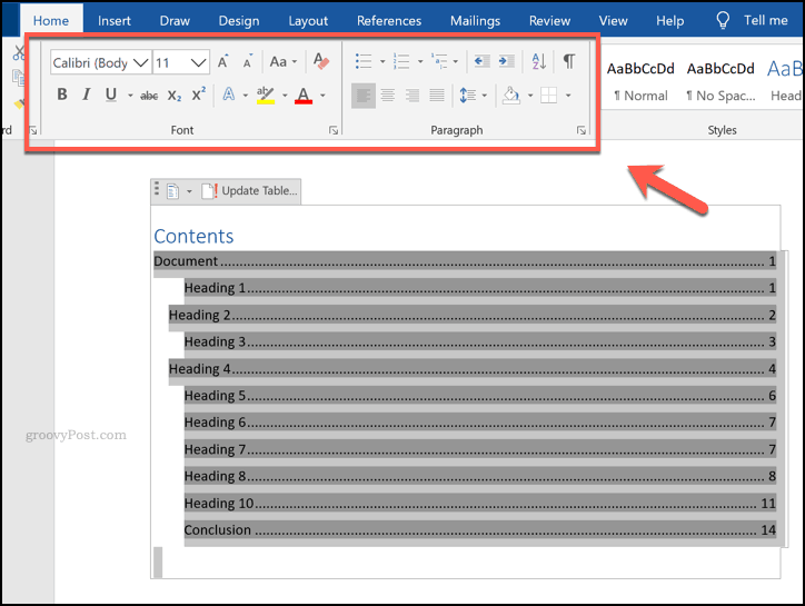 Formatting a table of contents in Word