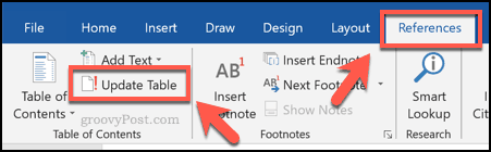 Updating a table of contents in Word