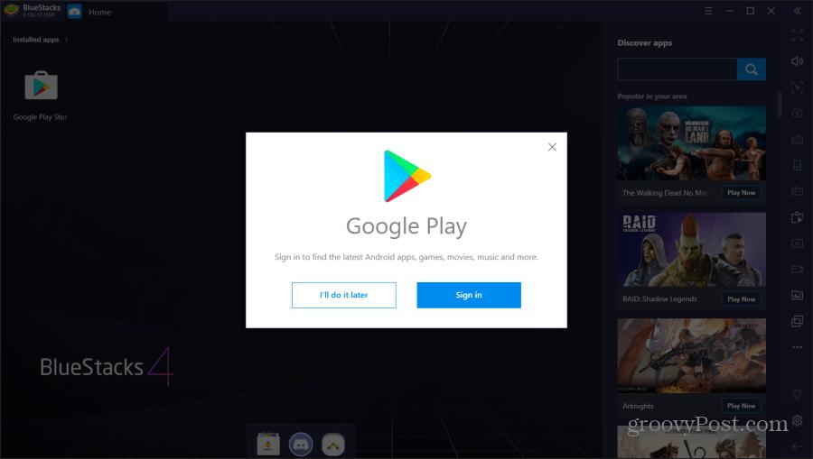 logging into google play on bluestacks