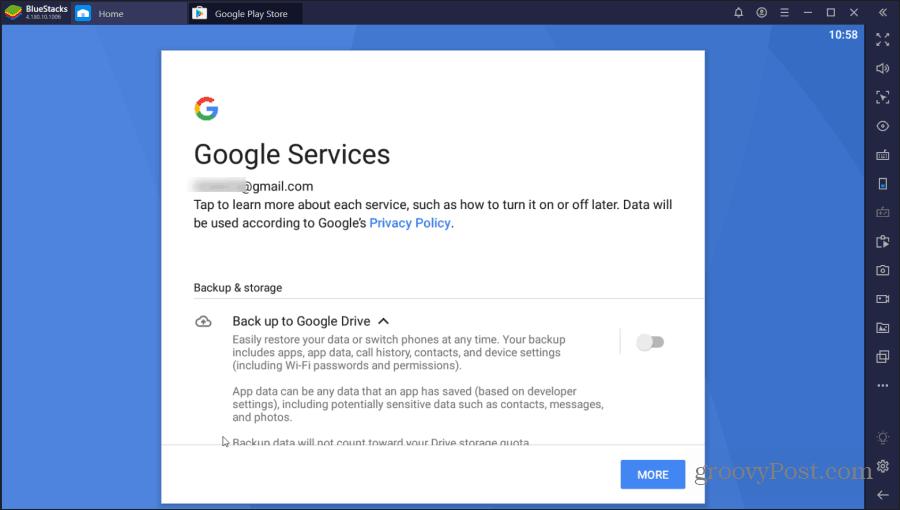 bluestacks google services
