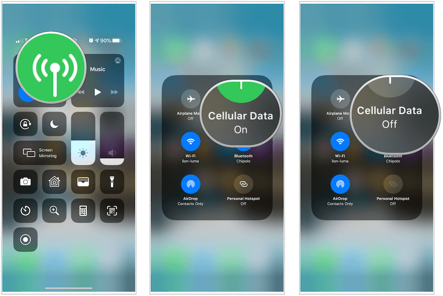 Control Center turn off cellular