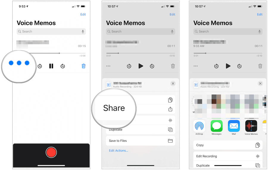 iPhone Voice Memos share