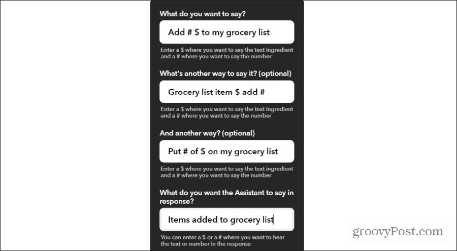 ifttt grocery items commands