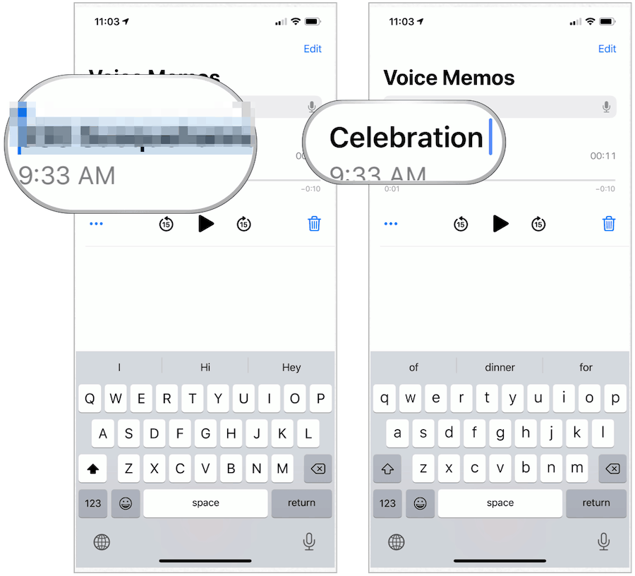 iPhone Voice Memos change name